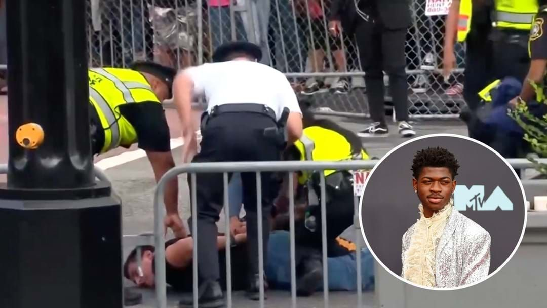 Article heading image for Drama At The MTV VMAs As Fan Arrested Jumping The Barrier To Meet Lil Nas X