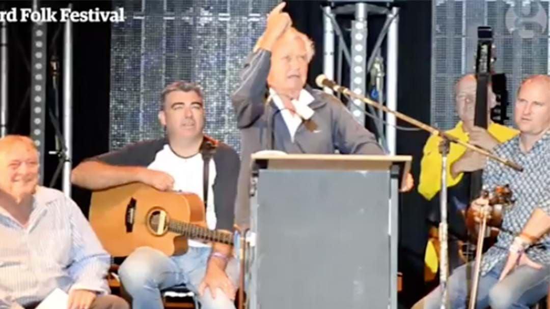 Article heading image for Bob Hawke Belts Out Waltzing Matilda At Woodford Folk Festival