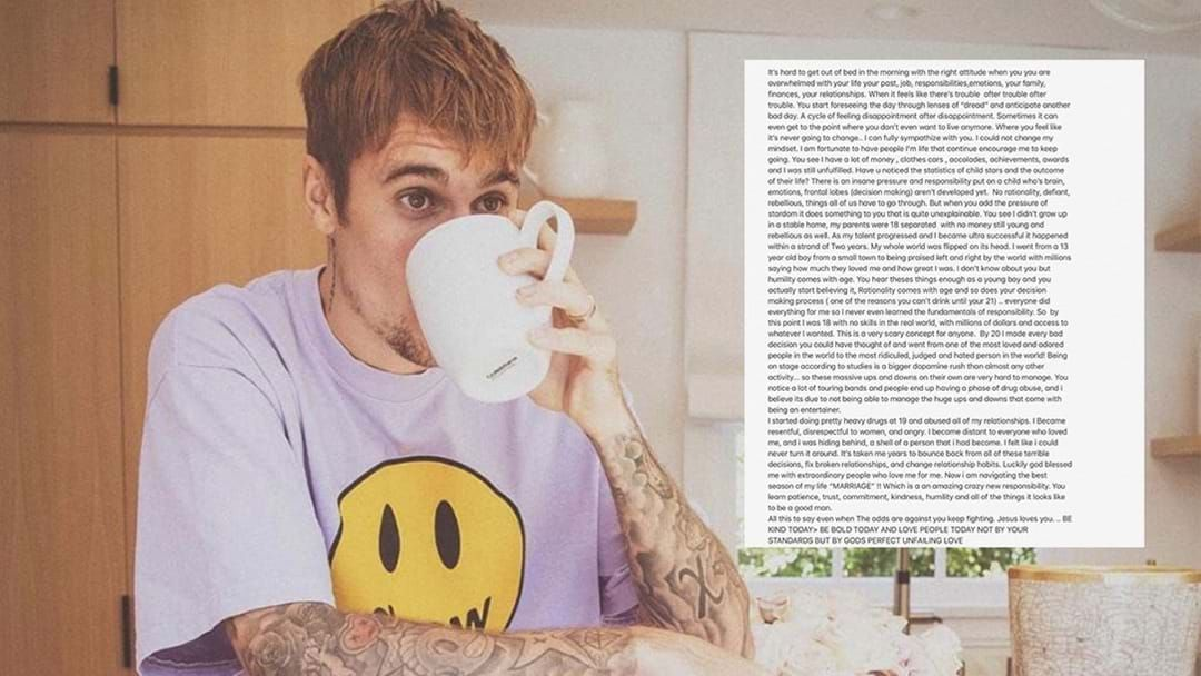 Article heading image for Justin Bieber Has Opened Up About Being A Child Star & Doing Hard Drugs In Lengthy Post