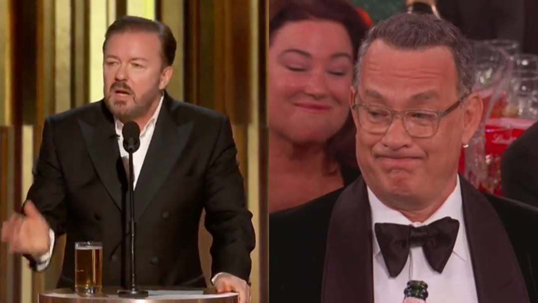 Article heading image for Ricky Gervais' Golden Globes Speech Was So Savage, It Made Tom Hanks Make *This* Face