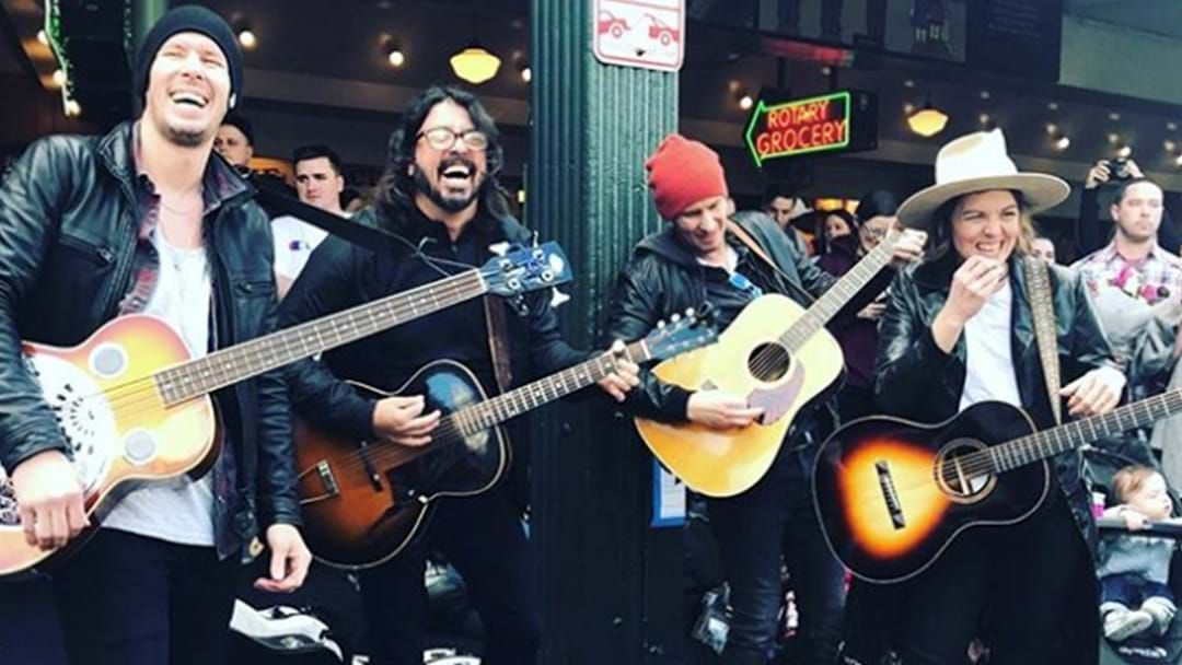 Article heading image for Brandi Carlile and Dave Grohl Hit Seattle Streets for a bit of Busking