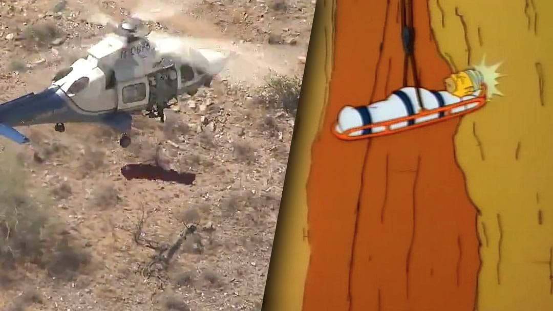 Article heading image for This Video Of A Chopper Rescue In The US Will Remind You Of That Famous Simpsons Scene