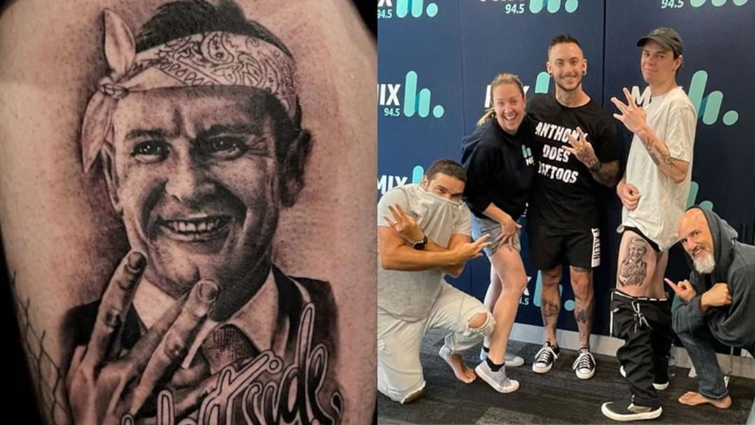 Article heading image for The Bloke Who Tattooed Mark McGowan's Face On His Thigh Explains WTF Happened