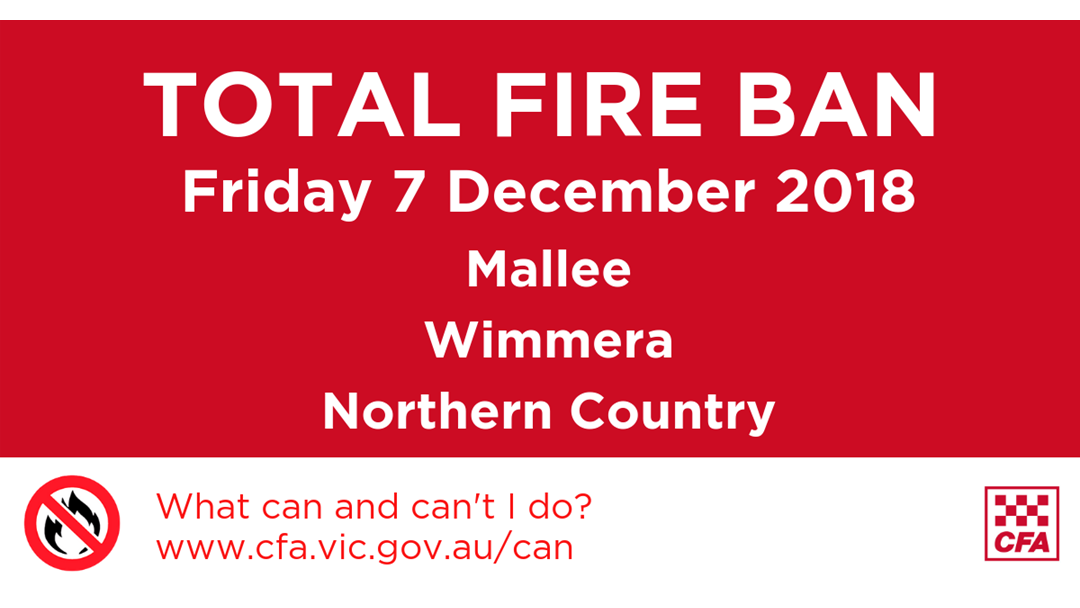 Article heading image for Total Fire Ban for Mallee, Wimmera and Northern Country