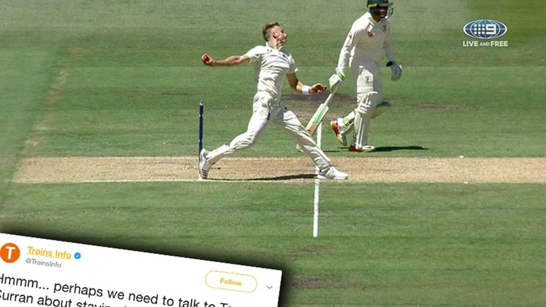 Article heading image for Sydney Trains' Twitter Account Roasted Tom Curran For Taking Wicket Off A No Ball Today