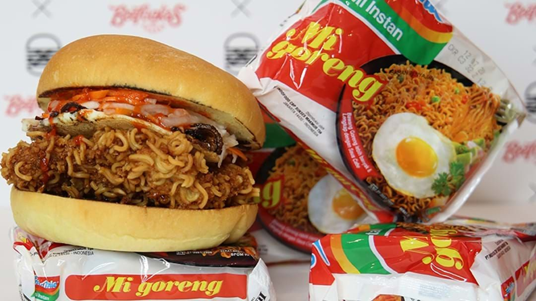 Article heading image for A Disgustingly Delicious Mi Goreng Burger Exists And We Can't Get Enough