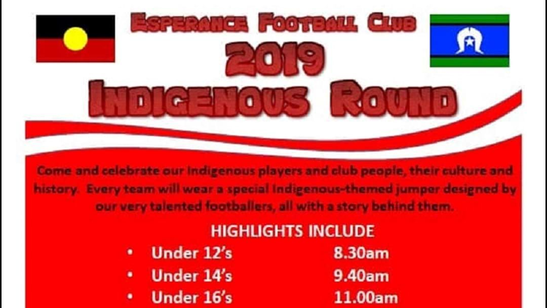 Article heading image for INDIGENOUS ROUND at Esperance Oval this Saturday and a BIG ROUND 10 of EDFA Footy