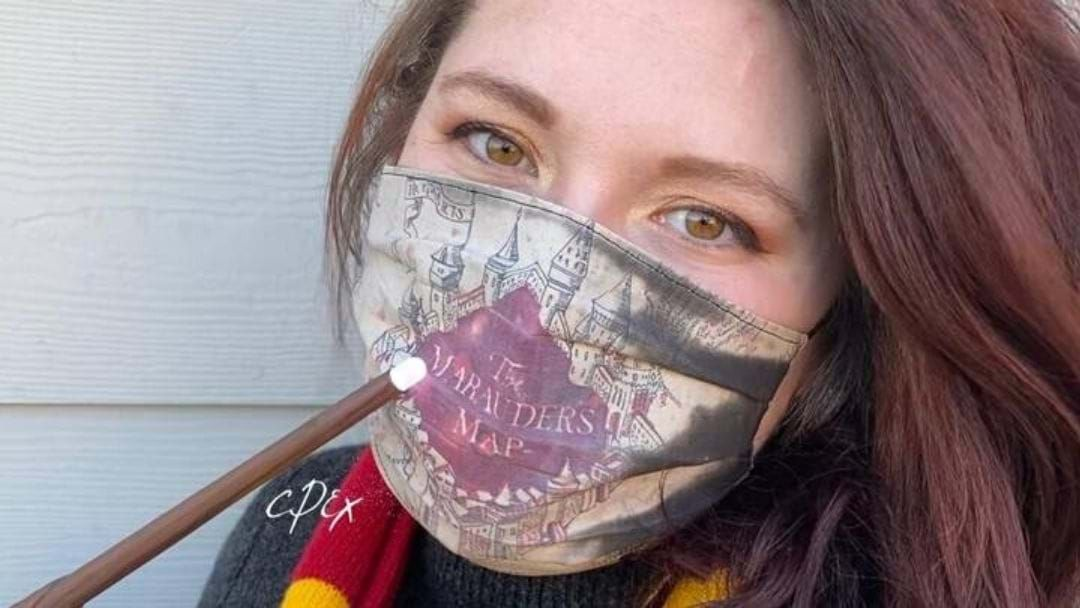 Article heading image for An Artist Has Created Face Masks Which Reveal The Marauder's Map When You Breathe