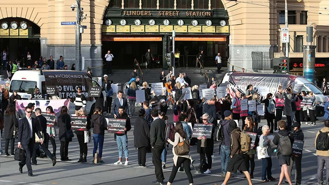 Article heading image for Vegan Protestors Stop Traffic In Melbourne CBD