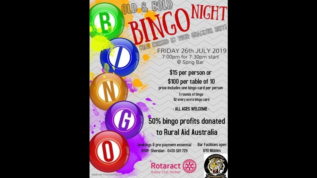 Article heading image for Old and Bold Bingo Night in Katanning