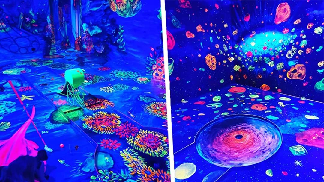 Article heading image for PSA: This Stunning 3D Glow In The Dark Mini Golf Course Exists