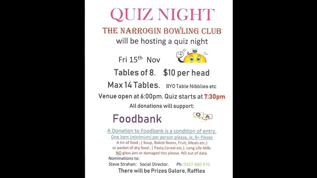 Article heading image for Narrogin Bowling Club Quiz Night