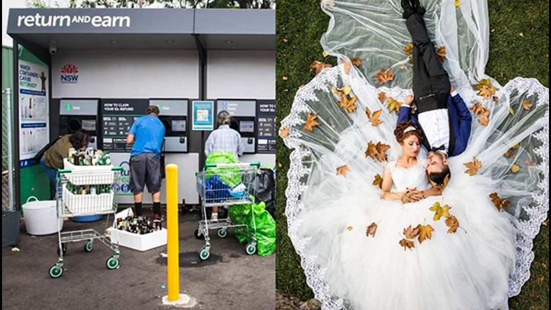 Article heading image for This Couple Paid For Their Wedding With Return And Earn Recycle Refunds